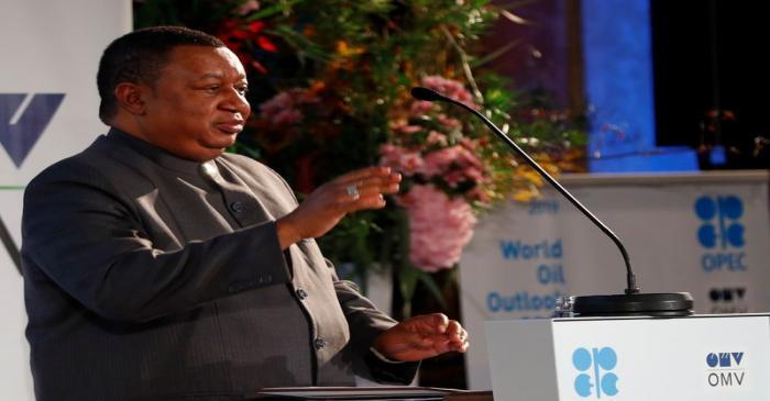 FILE PHOTO: OPEC Secretary General Barkindo delivers his speech in Vienna