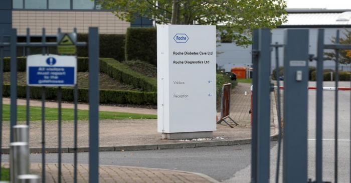 FILE PHOTO: A diagnostics site for Swiss pharmaceutical giant Roche is seen as the company said