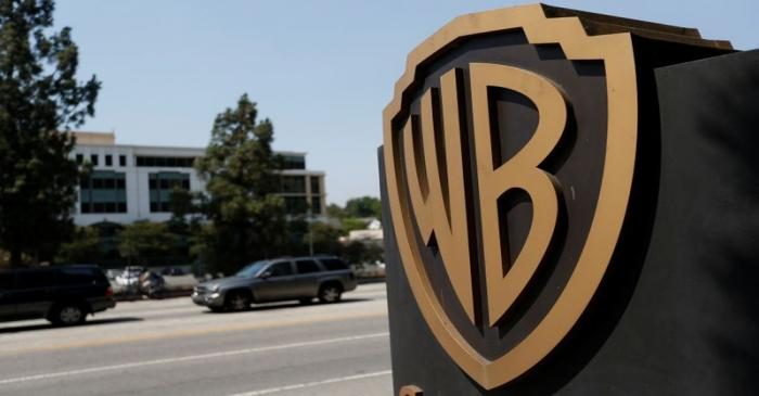 A Warner Bros. Entertainment Inc. logo is pictured at one of the studio's gates in Burbank