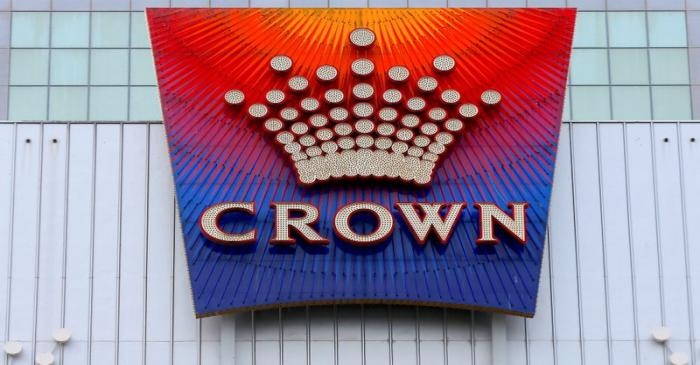 FILE PHOTO: The logo of Australian casino giant Crown Resorts Ltd adorns the hotel and casino