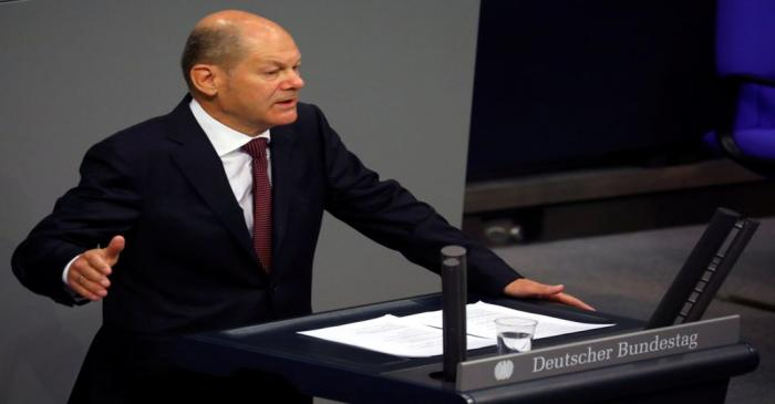 FILE PHOTO: German Finance Minister Olaf Scholz attends a session of the Bundestag, in Berlin