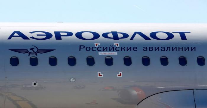 FILE PHOTO: The logo of Russia's flagship airline Aeroflot is seen on an Airbus A320 which