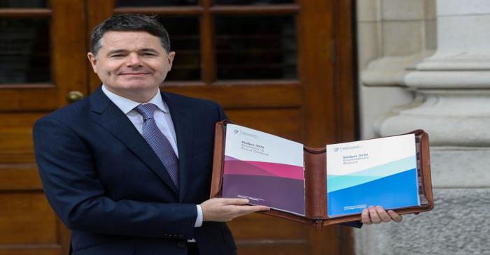 FILE PHOTO: Irish Finance Minister Paschal Donohoe presents Budget 2020 at Government Buildings