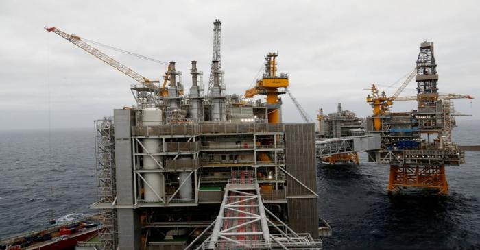 FILE PHOTO: A general view of Equinor's Johan Sverdrup oilfield platforms in the North Sea