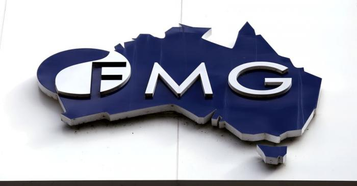 File photo of the logo of Fortescue Metals Group adorning their headquarters in Perth,