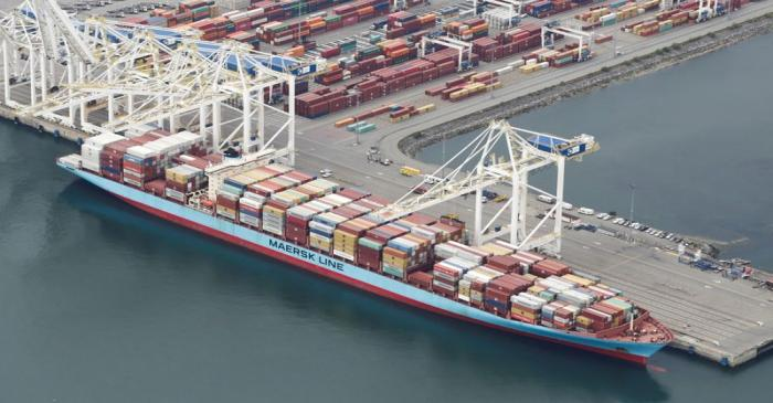 FILE PHOTO: The ship Anna Maersk is docked at Roberts Bank port carrying 69 containers of