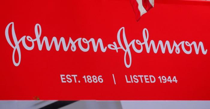 FILE PHOTO: The company logo for Johnson & Johnson is displayed to celebrate the 75th