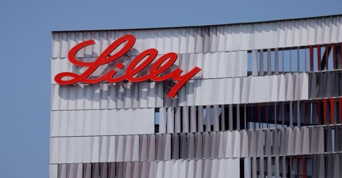 FILE PHOTO: Eli Lilly logo is shown on one of their offices in San Diego