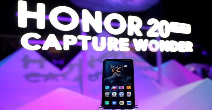 FILE PHOTO: Huawei's new Honor 20 smartphone is seen at a product launch event in London