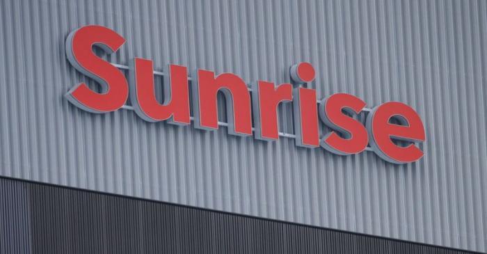 FILE PHOTO:  Swiss telecoms company Sunrise's logo is seen in Opfikon