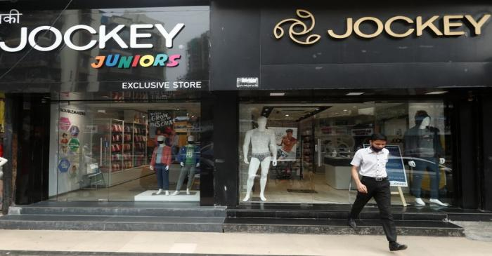 A man walks out of a Jockey outlet in Mumbai