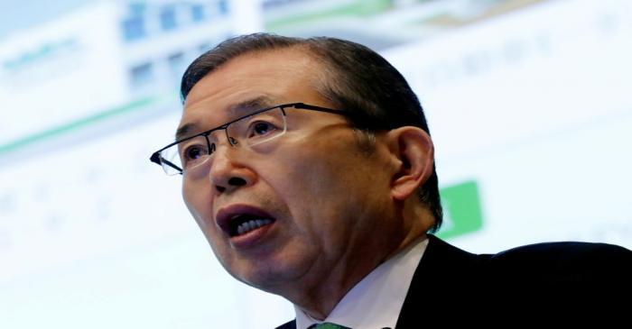FILE PHOTO: Nidec Corp' s CEO Shigenobu Nagamori speaks at an earnings results news conference