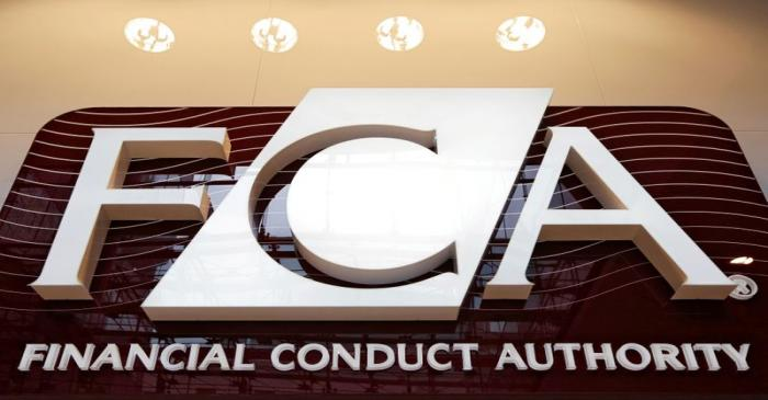 FILE PHOTO: The logo of the new Financial Conduct Authority in the Canary Wharf business