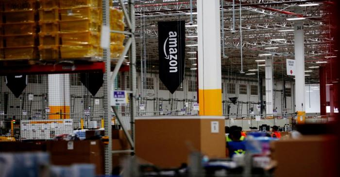 FILE PHOTO: The logo of Amazon is seen at their new Amazon warehouse during its opening