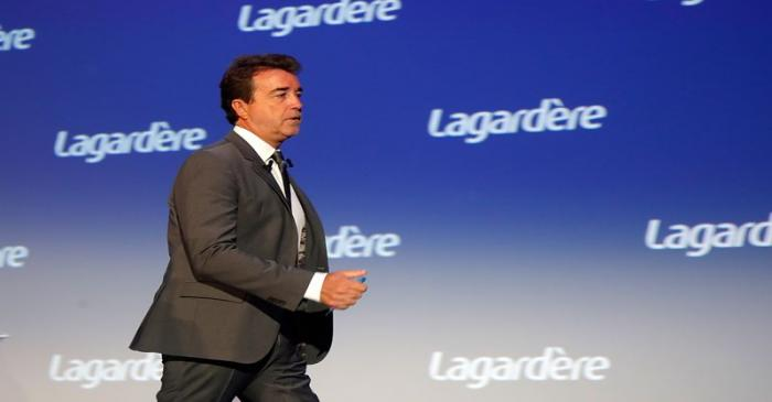 Arnaud Lagardere, the head of French media group Lagardere, attends the group's shareholders
