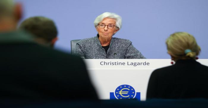 European Central Bank (ECB) President Christine Lagarde addresses a news conference on the
