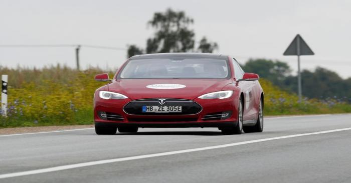 FILE PHOTO: Tesla Model S drives during electric car E-Rallye Baltica 2019 in Latvia