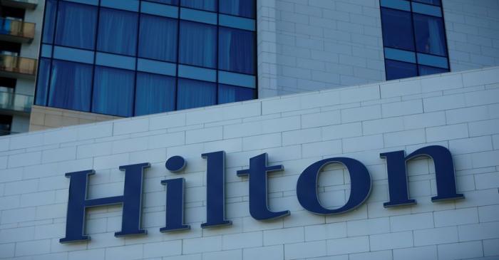 FILE PHOTO:  Logo of Hilton hotel is seen in Batumi