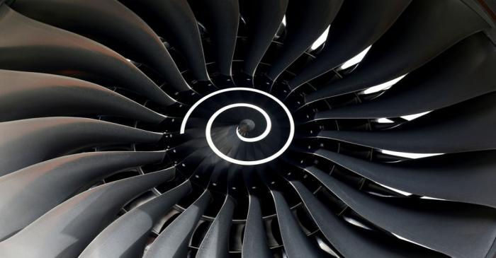 FILE PHOTO: Rolls Royce engine of the first Fiji Airways A350 XWB airliner is seen at the
