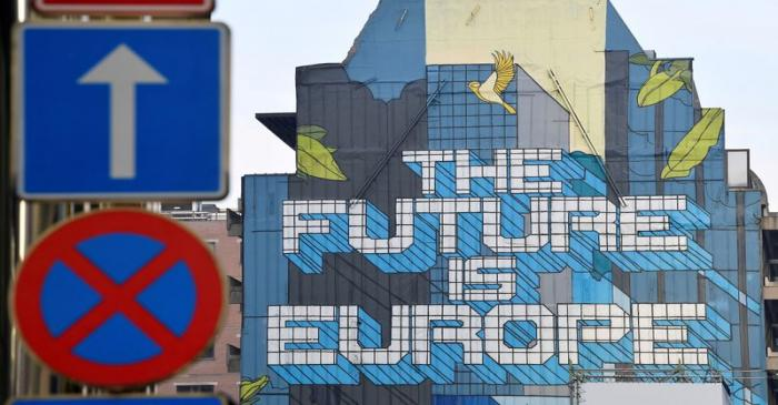 FILE PHOTO: A wall mural is seen near the EU Commission and Council buildings in Brussels,