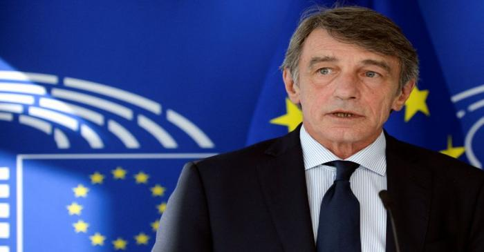 Belarusian opposition leader Tsikhanouskaya meets with EU Parliament President Sassoli in