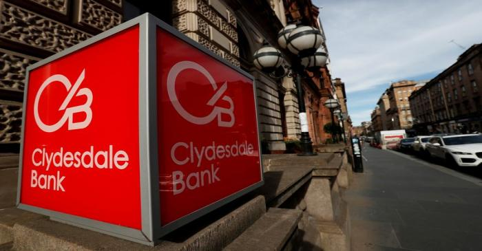 FILE PHOTO: The Clydesdale Bank logo is seen in St Vincent Place Glasgow, Scotland