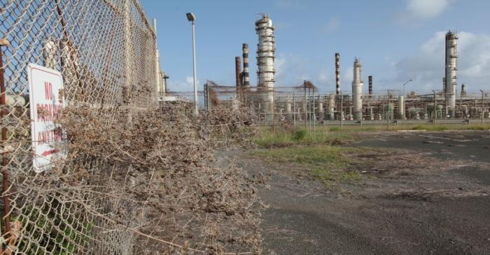 FILE PHOTO: An abandoned parking lot is seen outside the installations of the Hovensa petroleum