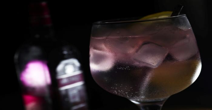 Greenall's Wild Berry pink gin is seen in a photo illustration in London