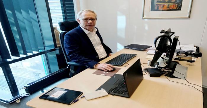 Norwegian solar panel maker Scatec Solar CEO Carlsen poses for a photo in Oslo