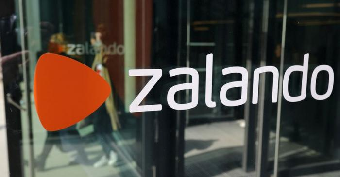 FILE PHOTO: The logo of fashion retailer Zalando is pictured at the new headquarters in Berlin
