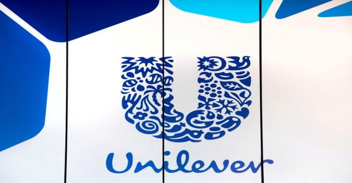 FILE PHOTO: The logo of Unilever is seen at the consumer goods group's headquarters in