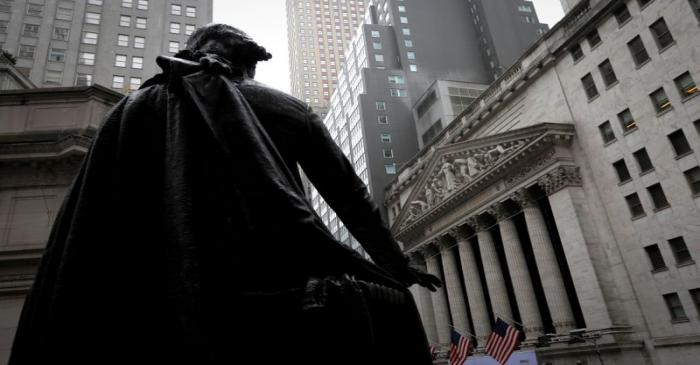 FILE PHOTO: FILE PHOTO: Statue of George Washington at Federal Hall across Wall Street from New