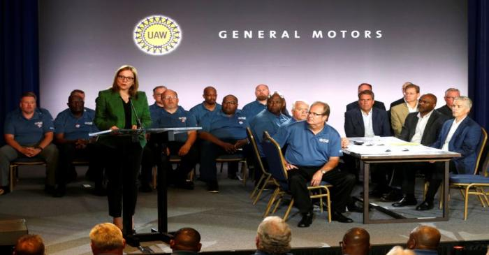 General Motors Chairman and CEO Mary Barra makes a statement as United Auto Workers President