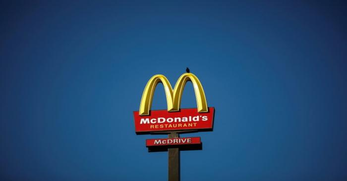 FILE PHOTO: The McDonald's company logo stands on a sign outside a restaurant in
