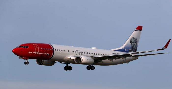 FILE PHOTO: Norwegian Air Sweden Boeing 737-800 plane SE-RRJ approaches Riga International