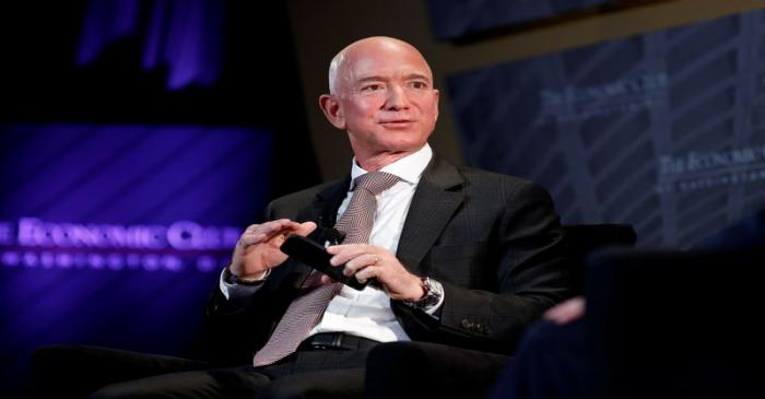 Jeff Bezos, president and CEO of Amazon and owner of The Washington Post, speaks at the
