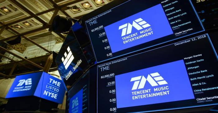 FILE PHOTO: Tencent Music Entertainment celebrates the company's IPO on the floor of the NYSE