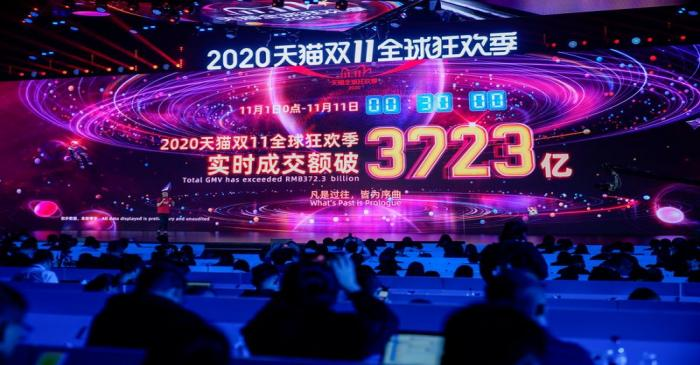 A screen shows the value of goods being transacted during Alibaba Group's Singles' Day global