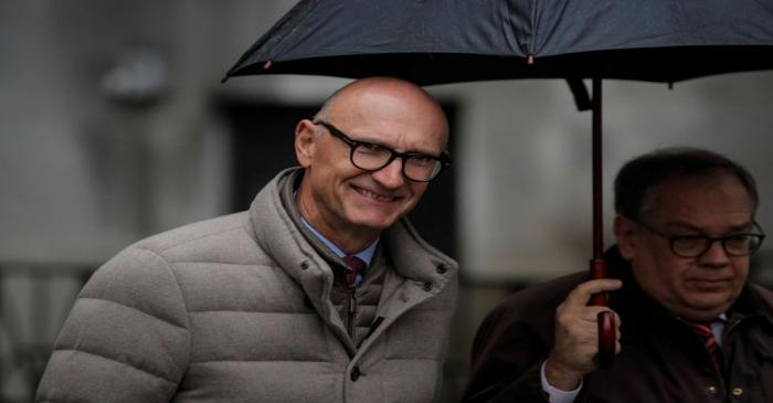 Tim Hoettges, CEO of Deutsche Telekom AG, exits the Manhattan Federal Court in New York