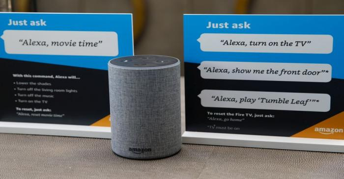 Prompts on how to use Amazon's Alexa personal assistant are seen in an Amazon 'experience