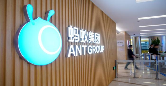 FILE PHOTO: A logo of Ant Group is pictured at the headquarters of the company in Hangzhou,