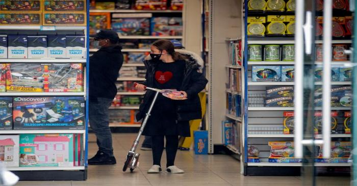 FILE PHOTO: A young Ultra-Orthodox Jewish girl shops in a toy store, during the outbreak of
