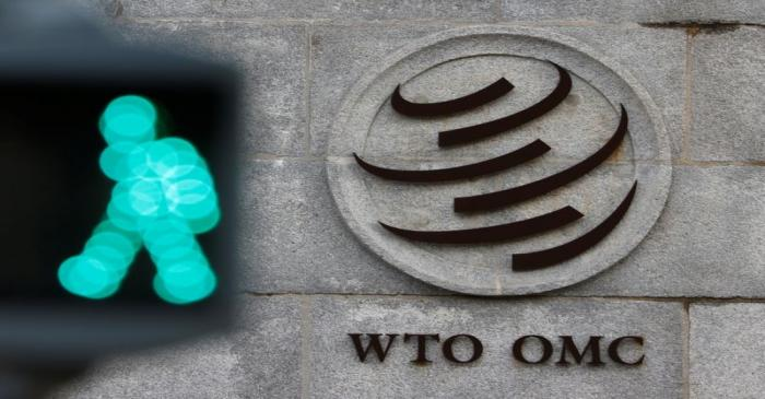 World Trade Organization (WTO) logo in Geneva