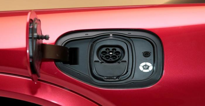 The charging socket is seen on Ford Motor Co's all-new electric Mustang Mach-E vehicle during a