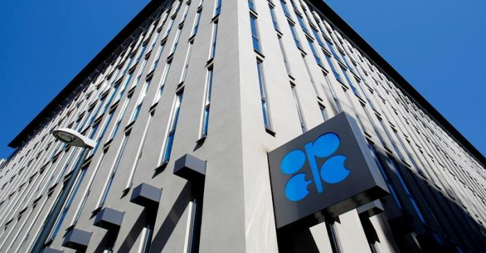 The logo of the Organisation of the Petroleum Exporting Countries (OPEC) sits outside its