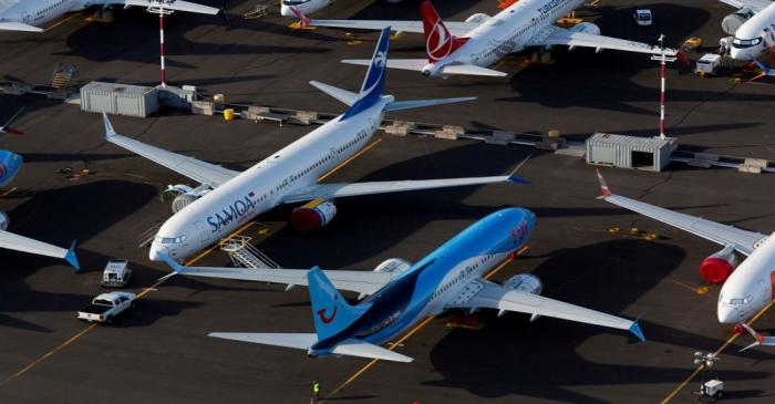 FILE PHOTO: Boeing 737 Max aircraft are parked in a parking lot at Boeing Field in this aerial