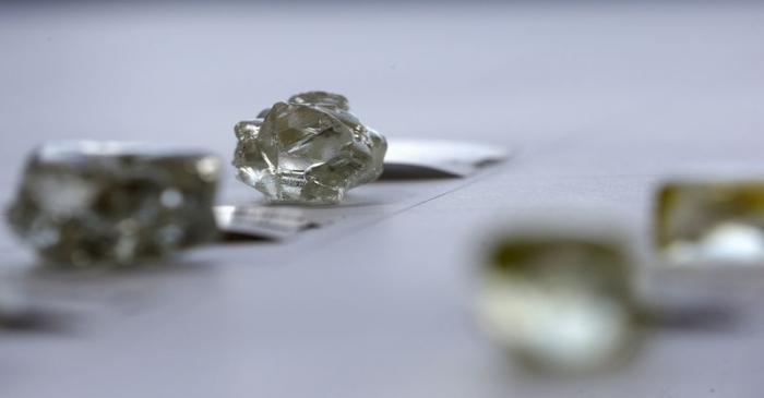 FILE PHOTO: Diamonds are displayed during a visit to the De Beers Global Sightholder Sales