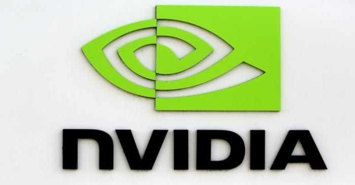 FILE PHOTO: The logo of technology company Nvidia is seen at its headquarters in Santa Clara