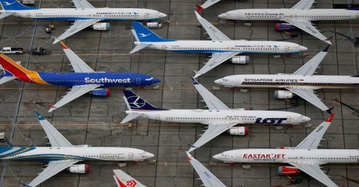 FILE PHOTO: Grounded Boeing 737 MAX aircraft are seen parked at Boeing facilities at Grant