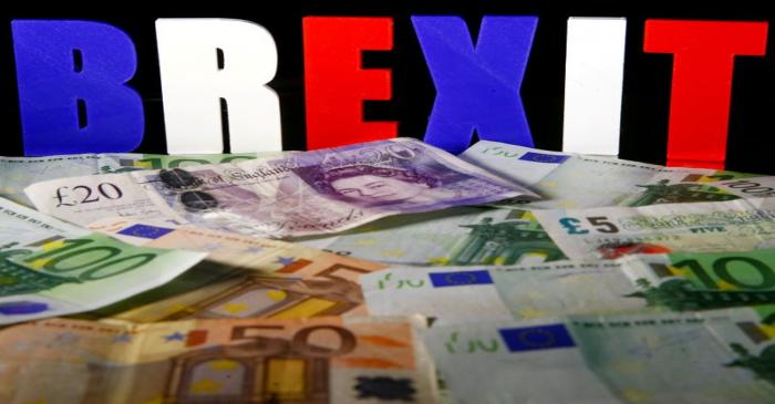 FILE PHOTO: Euro and Pound banknotes are seen in front of BREXIT letters in this picture